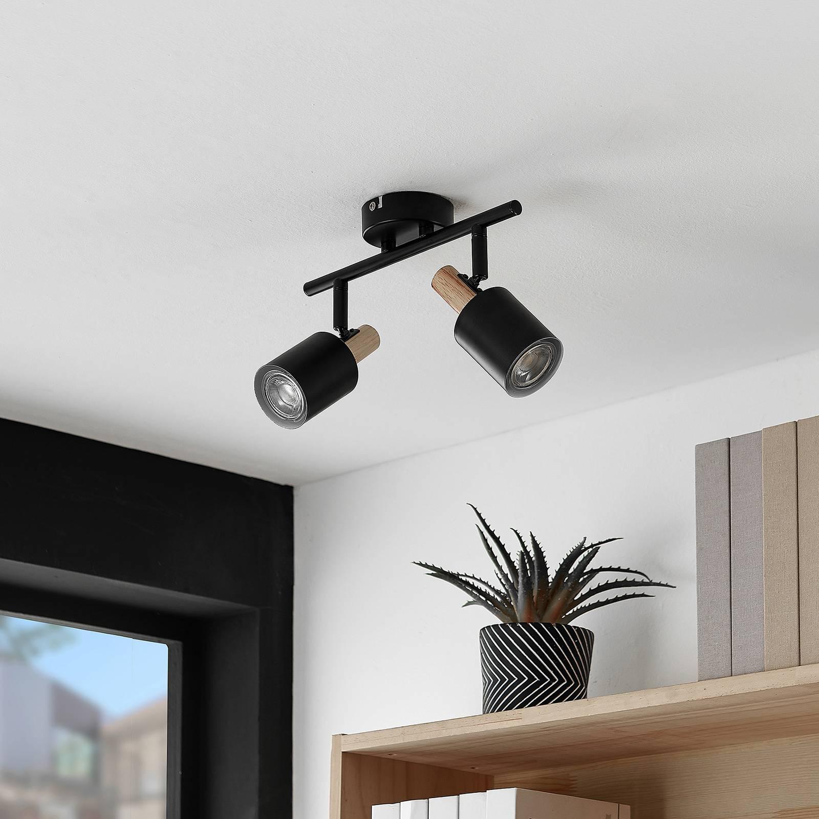 Lindby Junes -LED-kattospotti, 2-lamppuinen musta