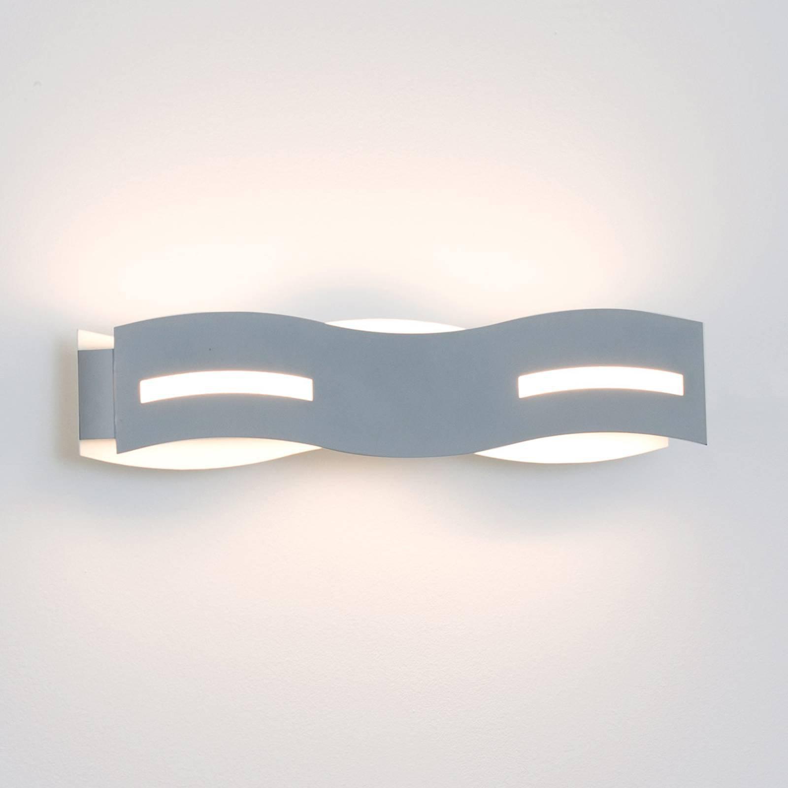 LED-vegglampe Wave nikkel
