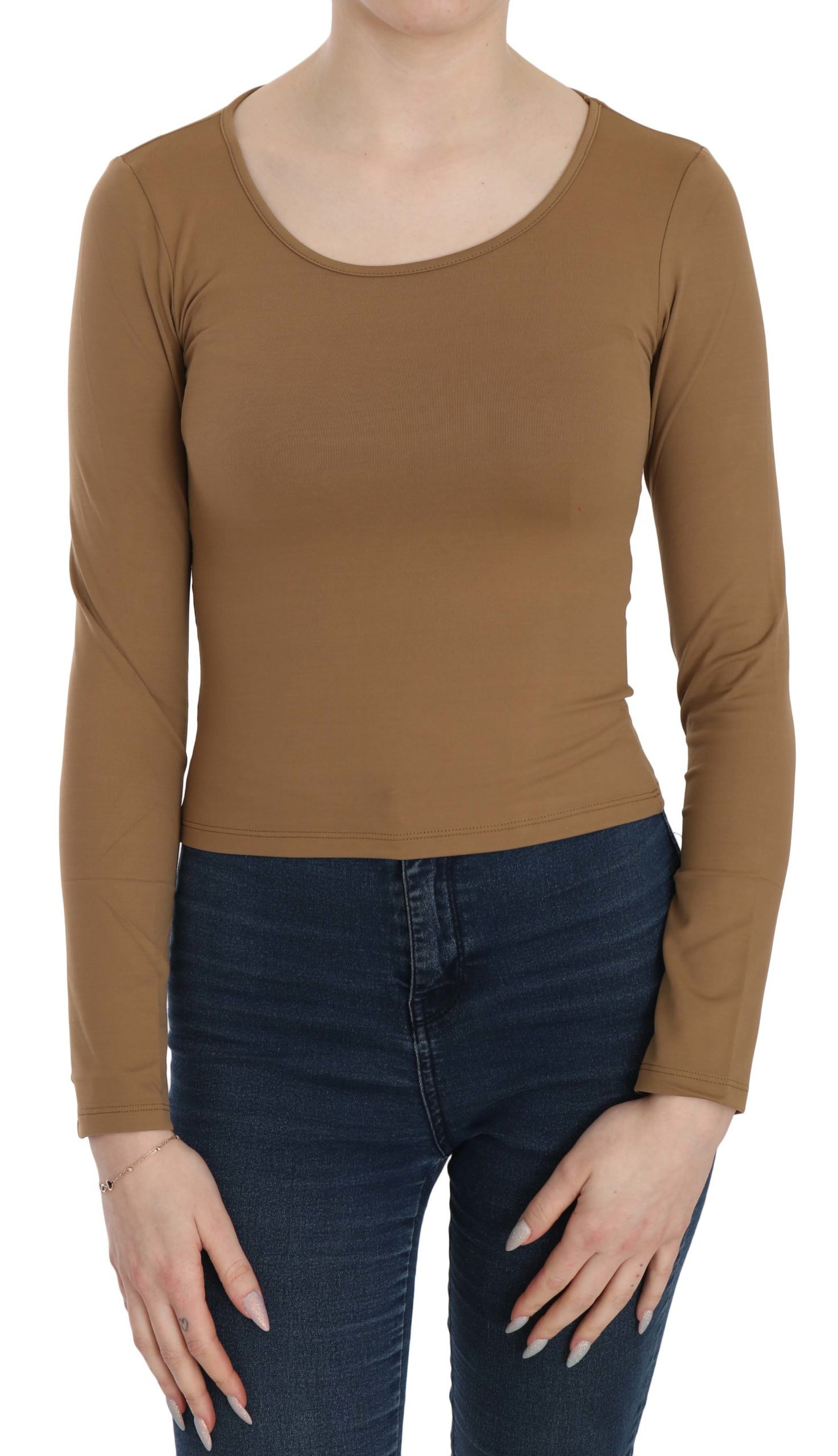 GF Ferre Women's Long Round Neck Sleeve Fitted Tops Brown TSH3931 - IT38|XS