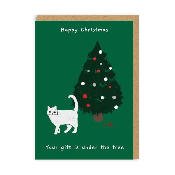 Gift Under the Tree Christmas Card