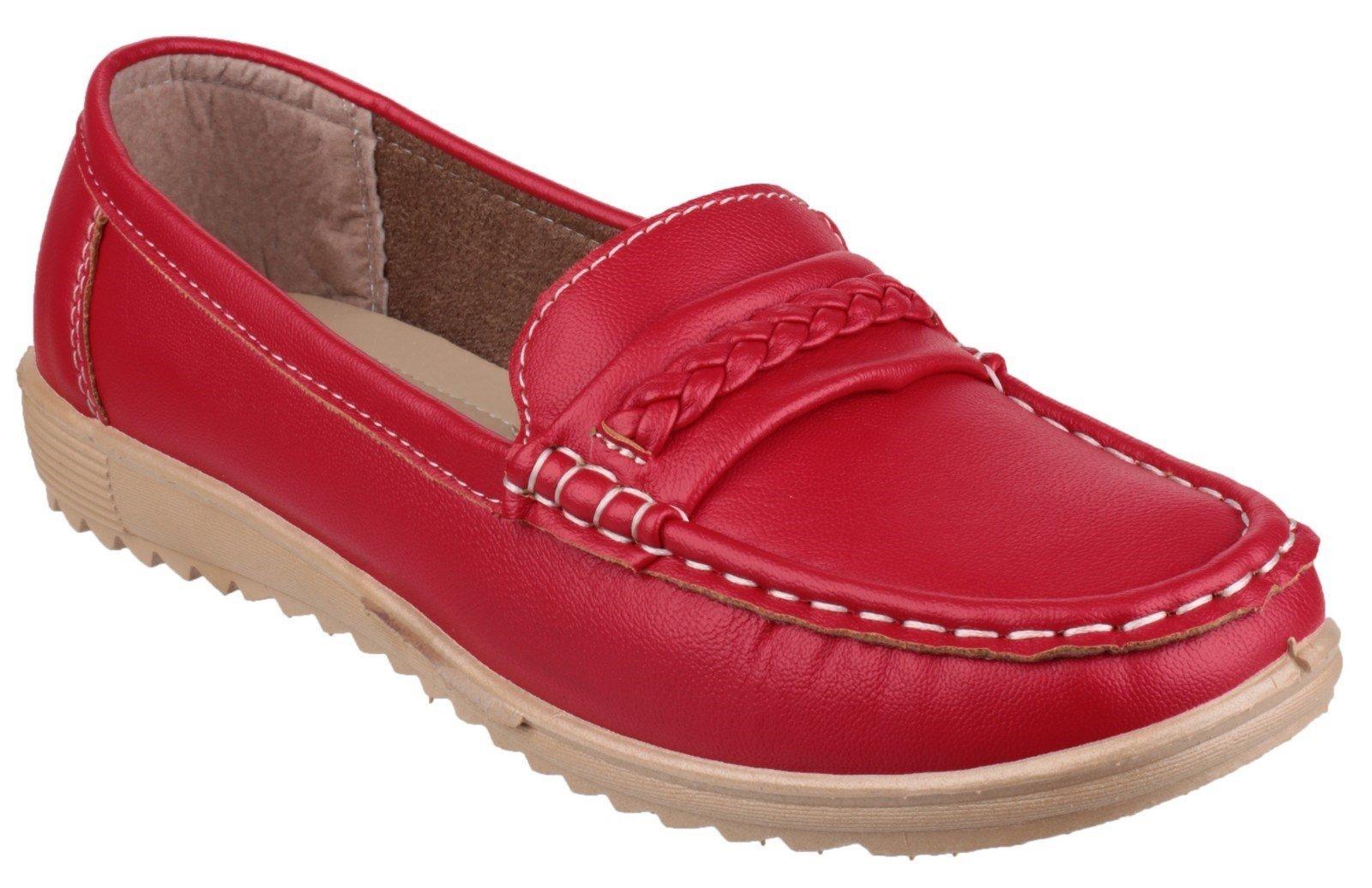 Fleet & Foster Women's Thames Slip On Loafer Various Colours 22128-35812 - Red 3