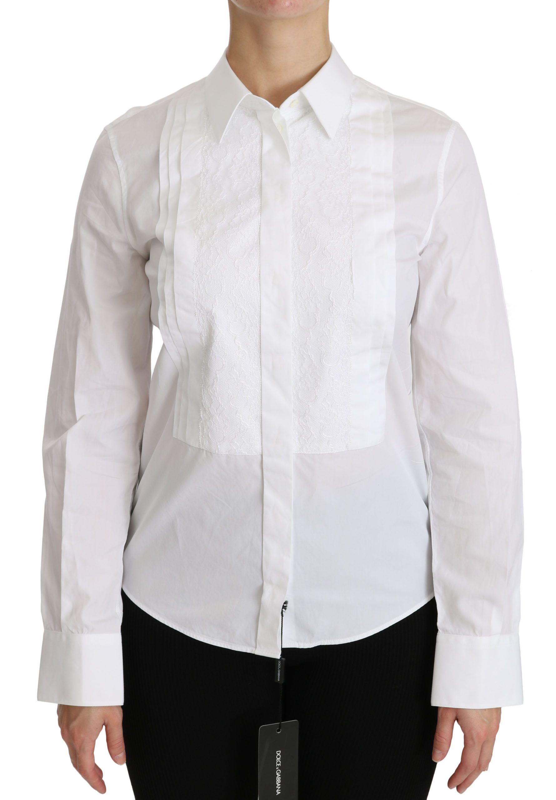 Dolce & Gabbana Women's Long Sleeve Polo Shirt White TSH4320 - IT44|L