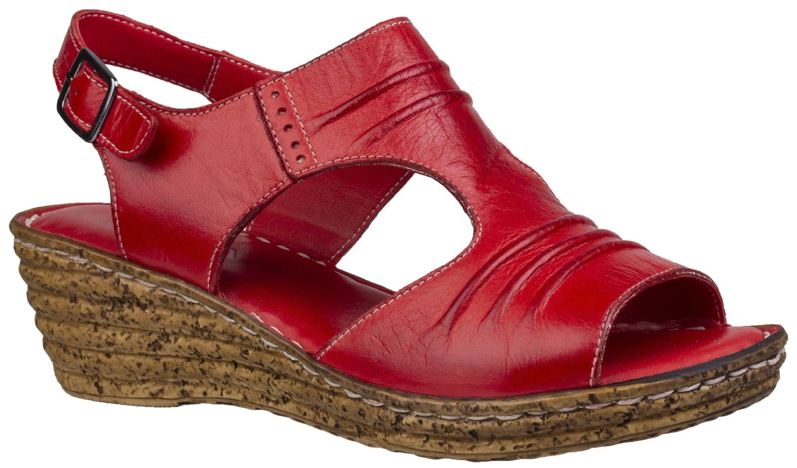 Fleet & Foster Women's Incence Pleated Leather Sandal Various Colours 28272 - Red 3