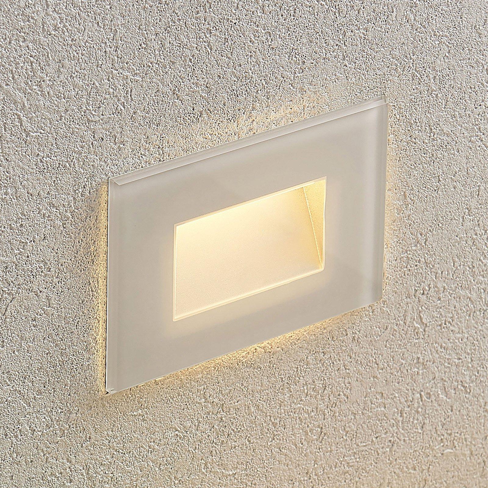 LED innfelt vegglampe Jody, 12 cm, polykarbonat