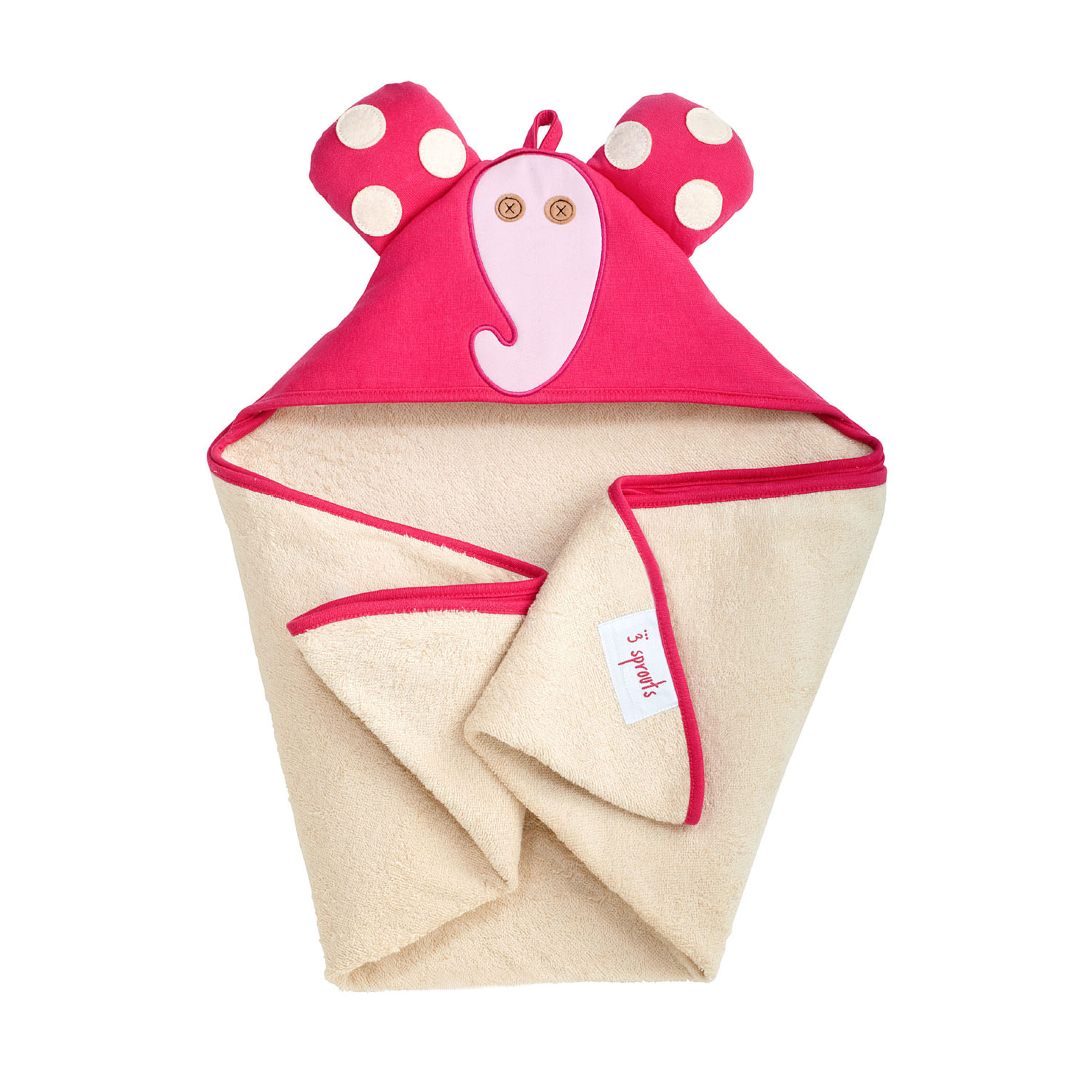 3 Sprouts - Hooded Towl - Pink Elephant
