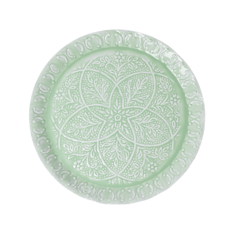 Rice - Metal Round Tray - Green w. Embossed Details and Scallop Edge