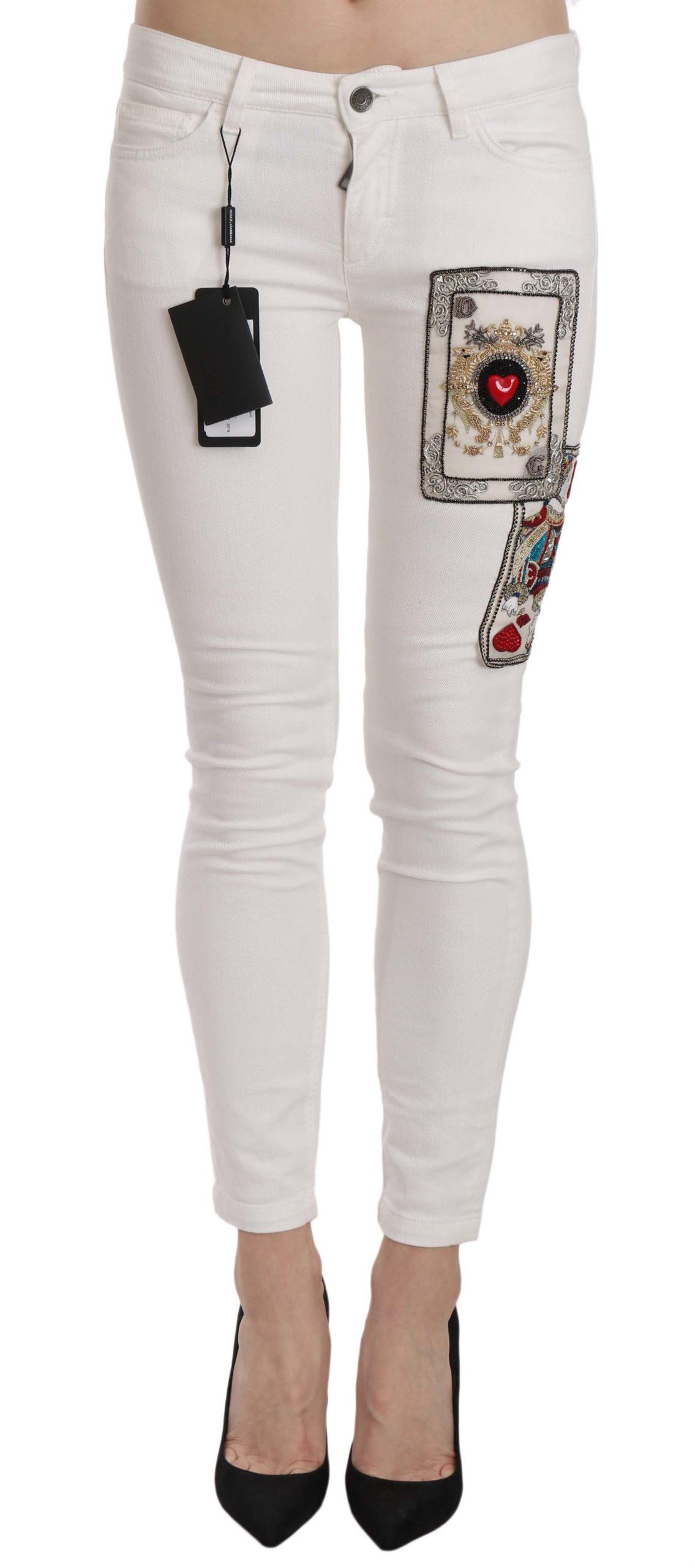 Dolce & Gabbana Women's Of Hearts Crystal Skinny Jeans White PAN61198 - IT38 XS