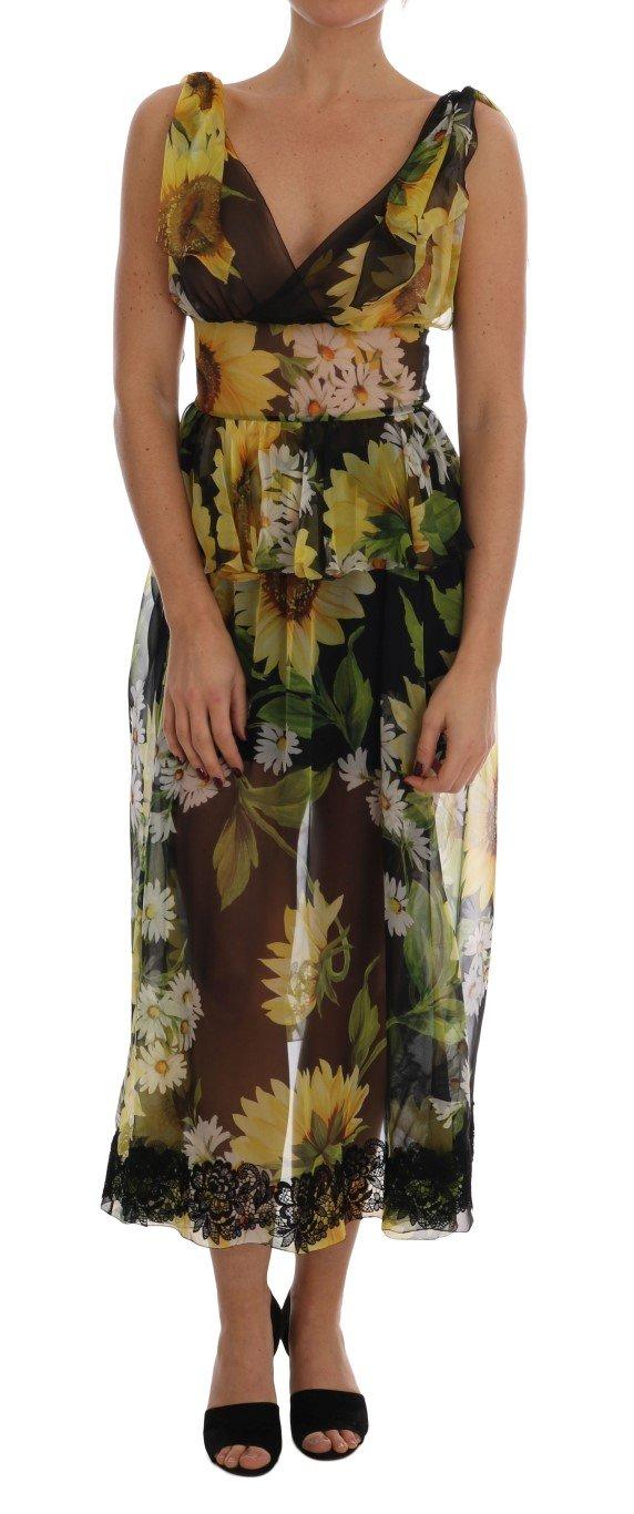 Dolce & Gabbana Women's Sunflower Floral Lace Dress Multicolor DR1374 - IT40 S