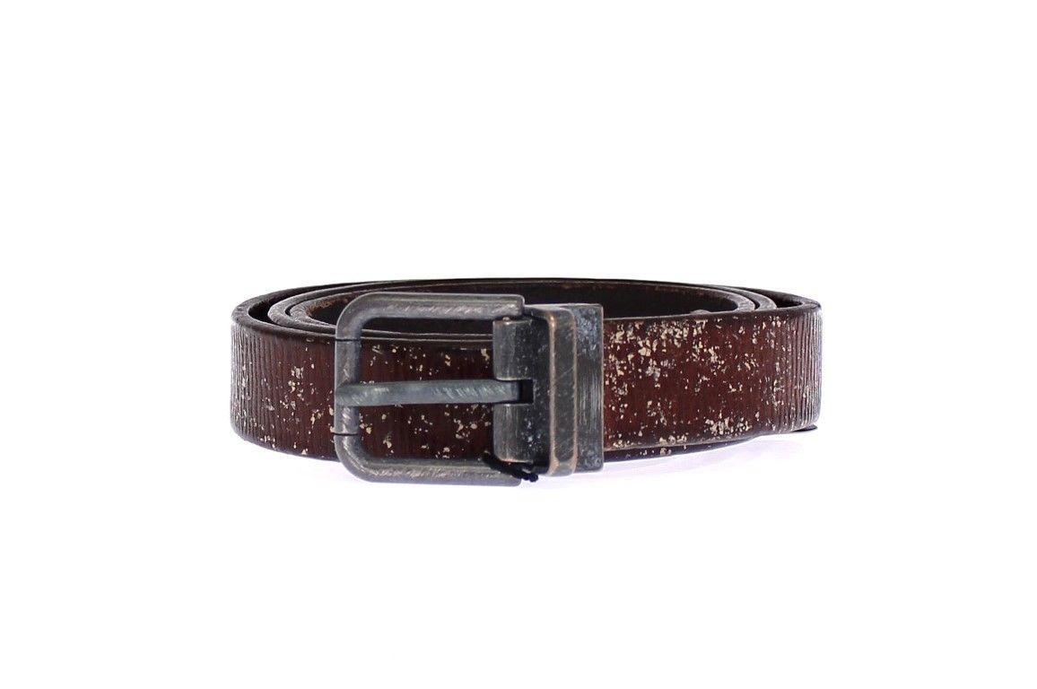 Dolce & Gabbana Men's Leather Logo Belt Brown GSB10281 - 95 cm / 38 Inches