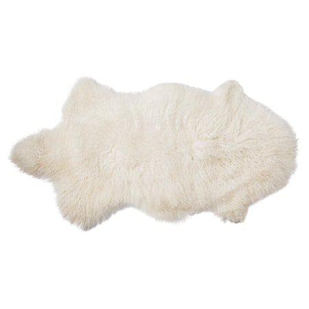 Mongolsk lammeskinn Hvit 90x50cm