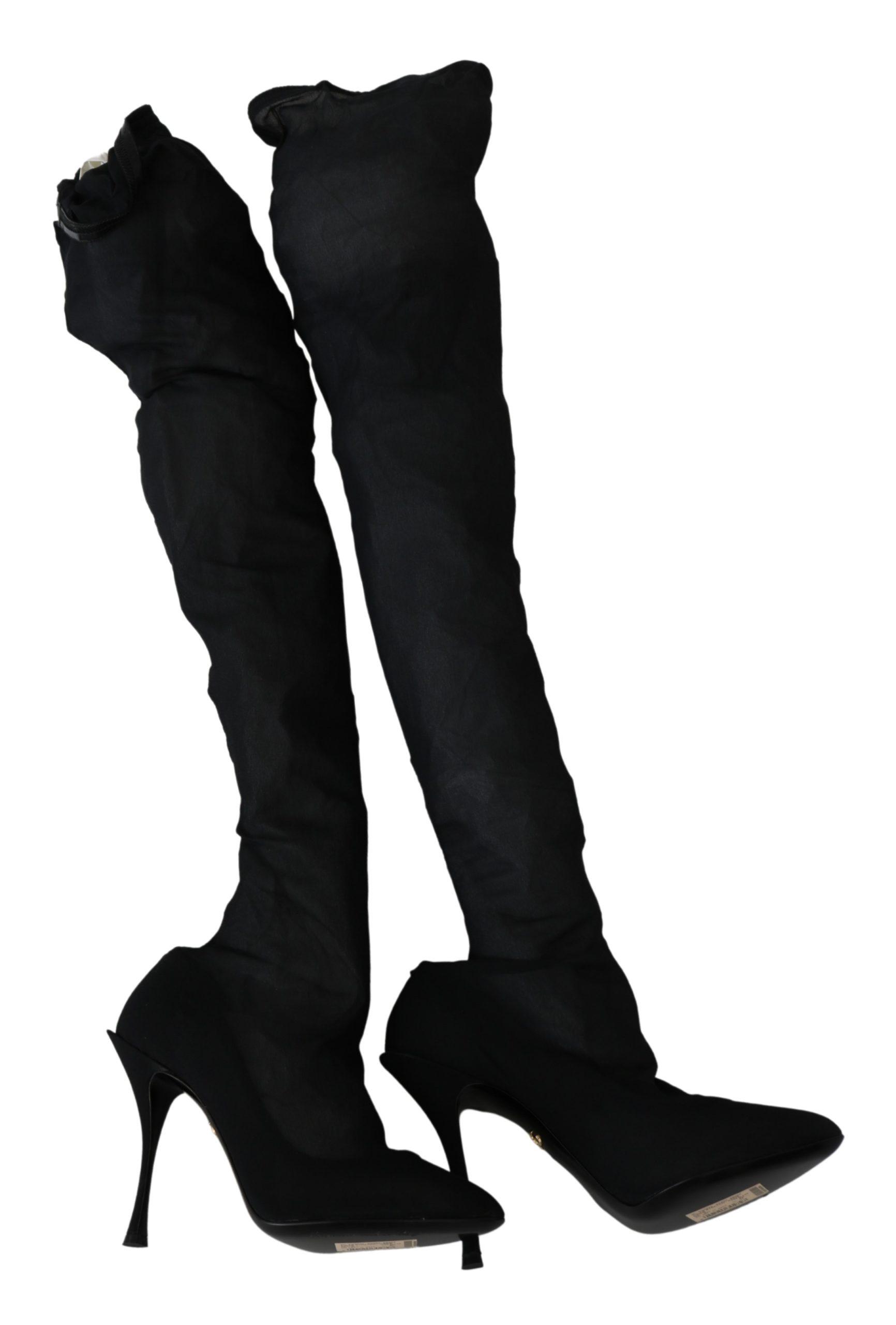 Black Tulle Stretch Knee Booties Heels Shoes - EU40/US9.5