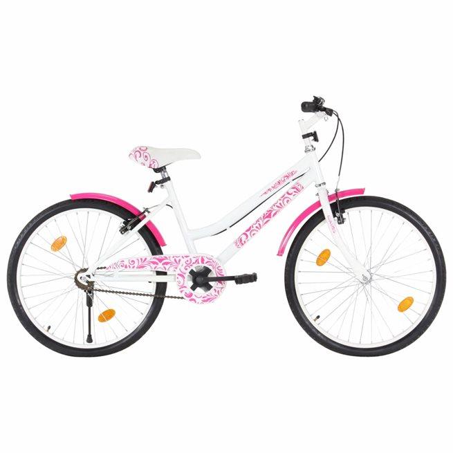 vidaXL Barncykel 24 tum rosa och vit