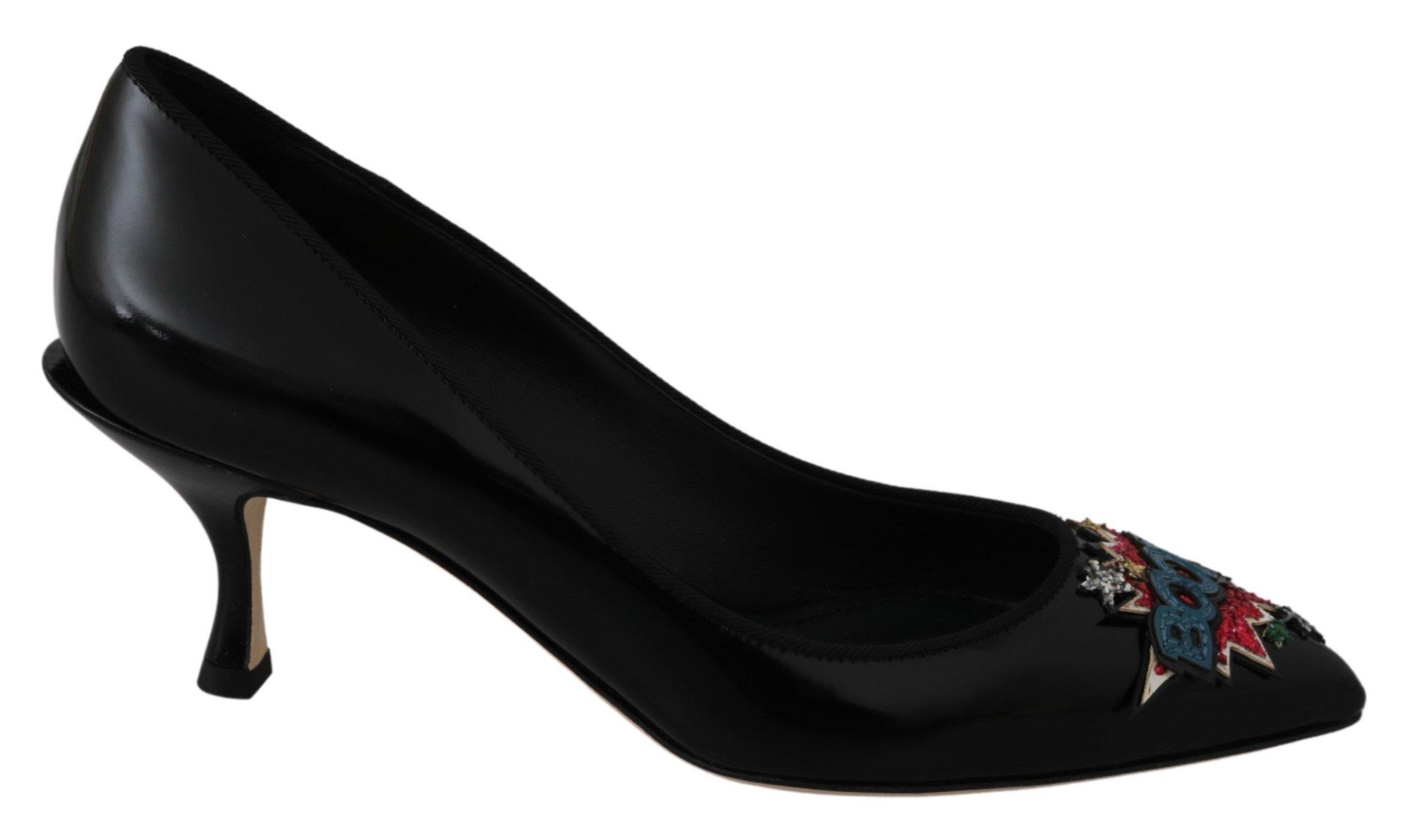 Black Leather BOOM Heels Pumps Shoes - EU35/US4.5