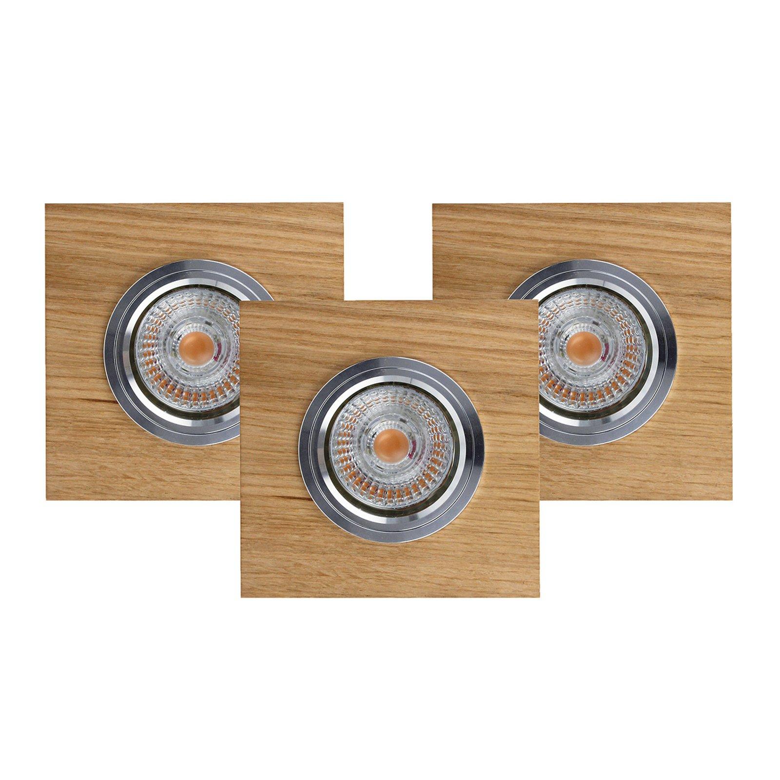 Innbygget taklampe LED Vitar, eik oljet, 3-er