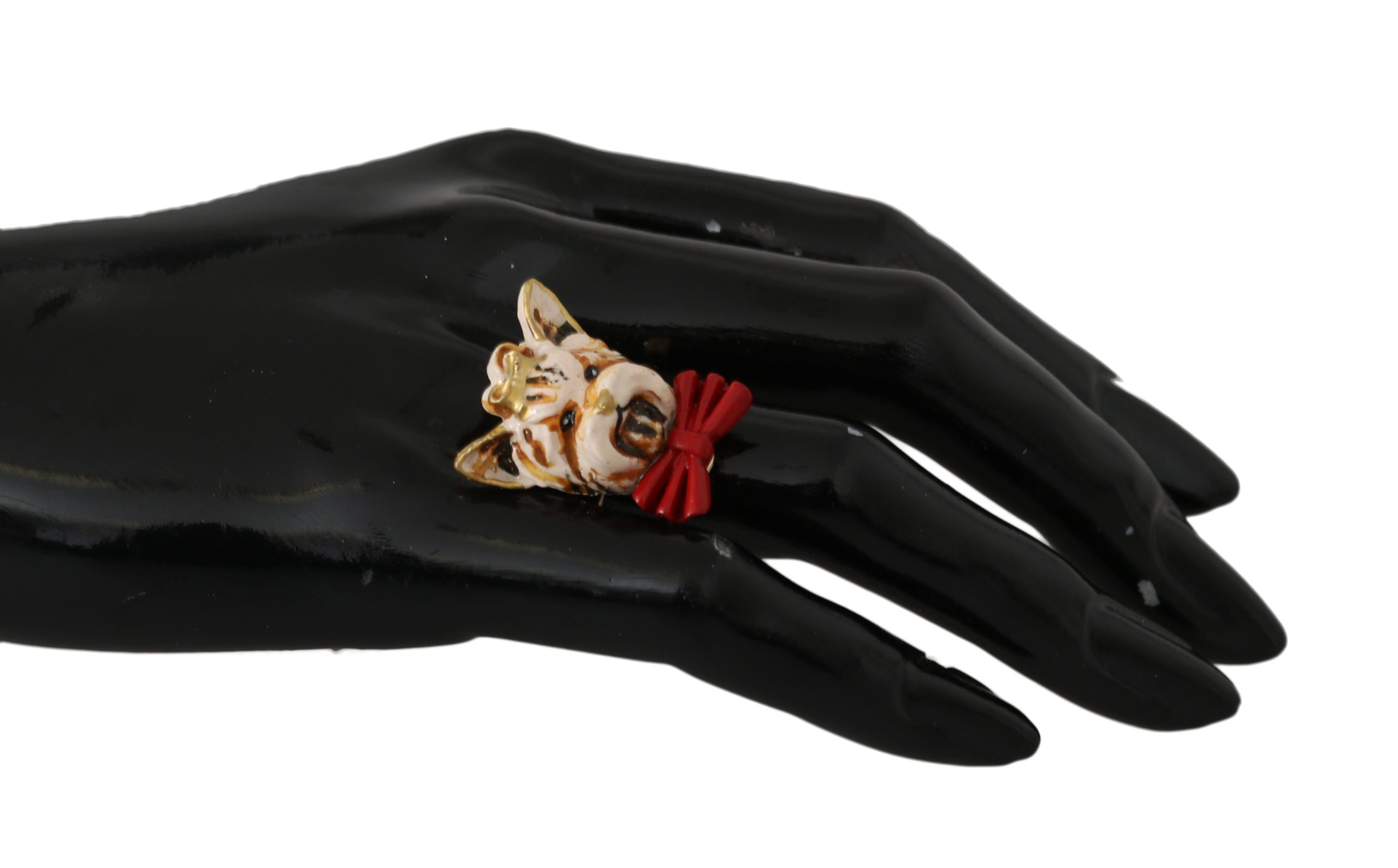 Dolce & Gabbana Women's Brass Resin Branded Ring Gold SMY2042 - EU54 | US7