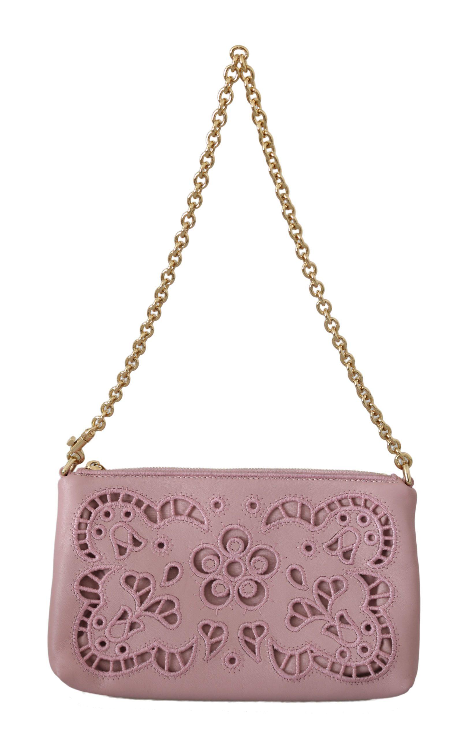 Dolce & Gabbana Women's Cutout Mini Leather Crossbody Bag Pink VAS8634