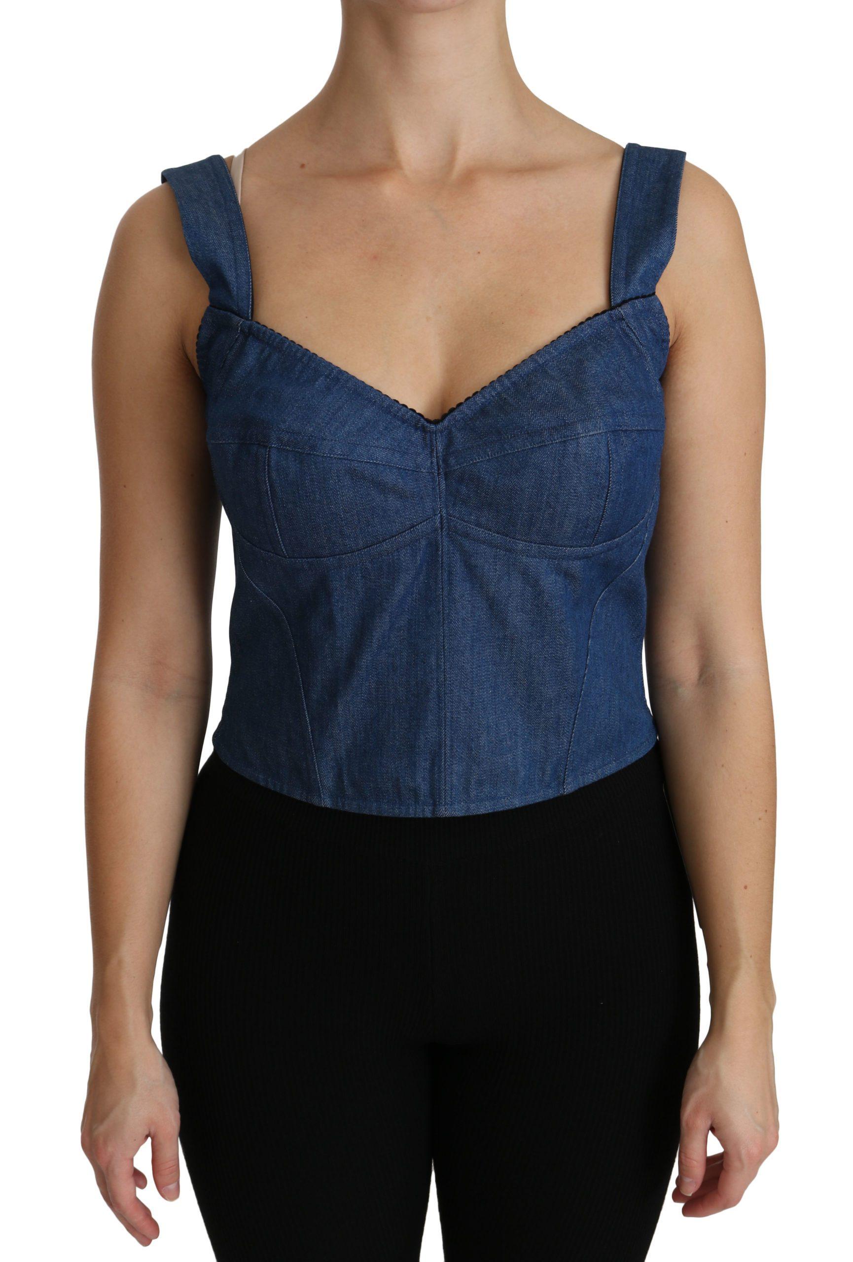 Dolce & Gabbana Women's Sleeveless Bustier Tops Blue TSH4309 - IT36 | XS