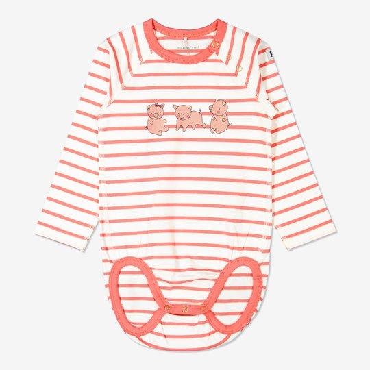 Stripet body med trykk, baby rosa