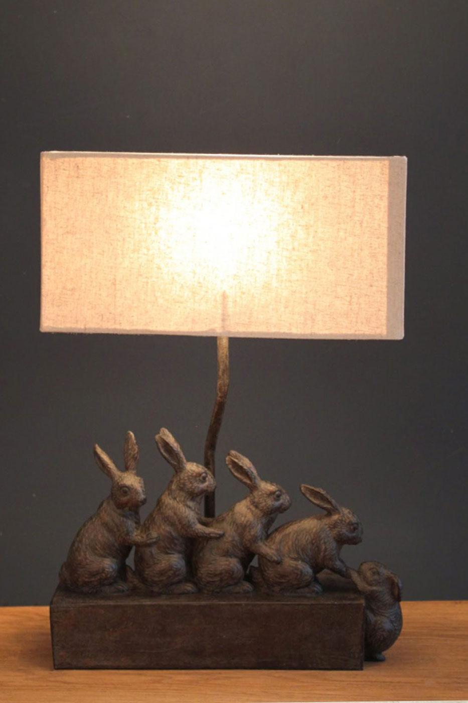 Bordslampa Kaniner på rad inkl. skärm