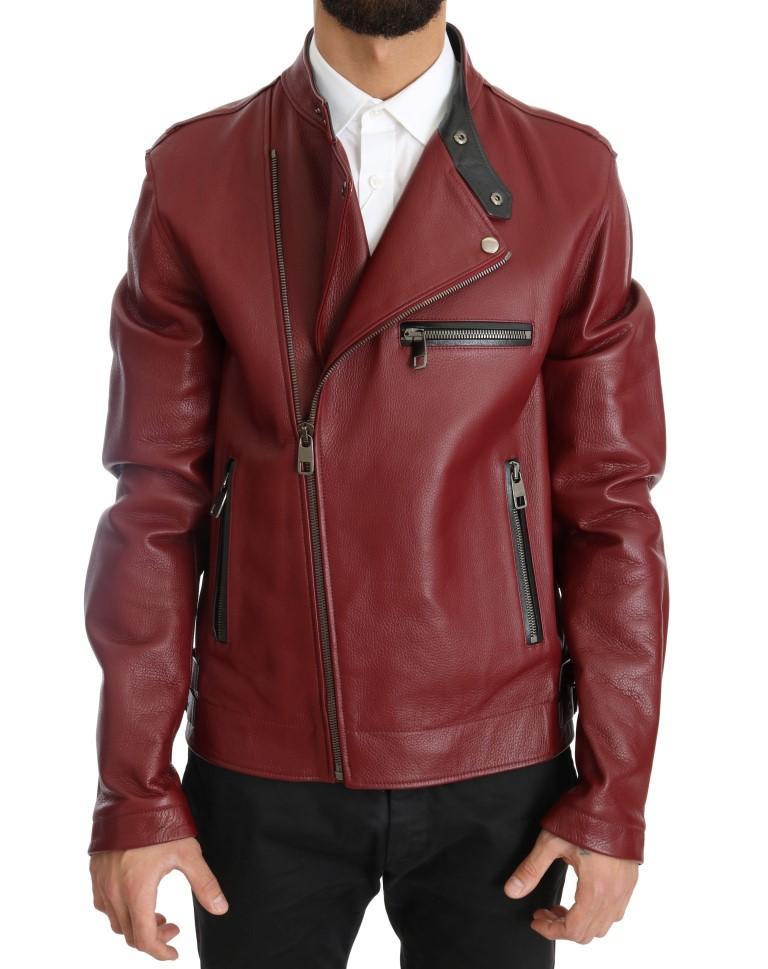 Dolce & Gabbana Men's Leather Deerskin Jacket Red JKT1078 - IT44 | XS