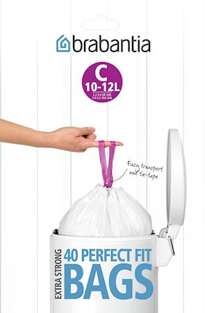 Søppelposer C, 10-12 Ltr (Dispenser Pack med 40 poser) White