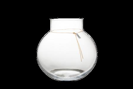 Rund glassvase med lærbånd – 29 cm