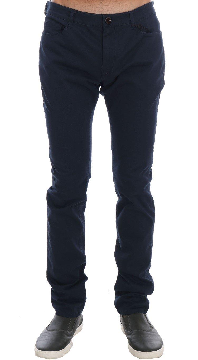 Costume National Men's Cotton Stretch Slim Fit Trouser Blue TSH1213 - IT48 | M