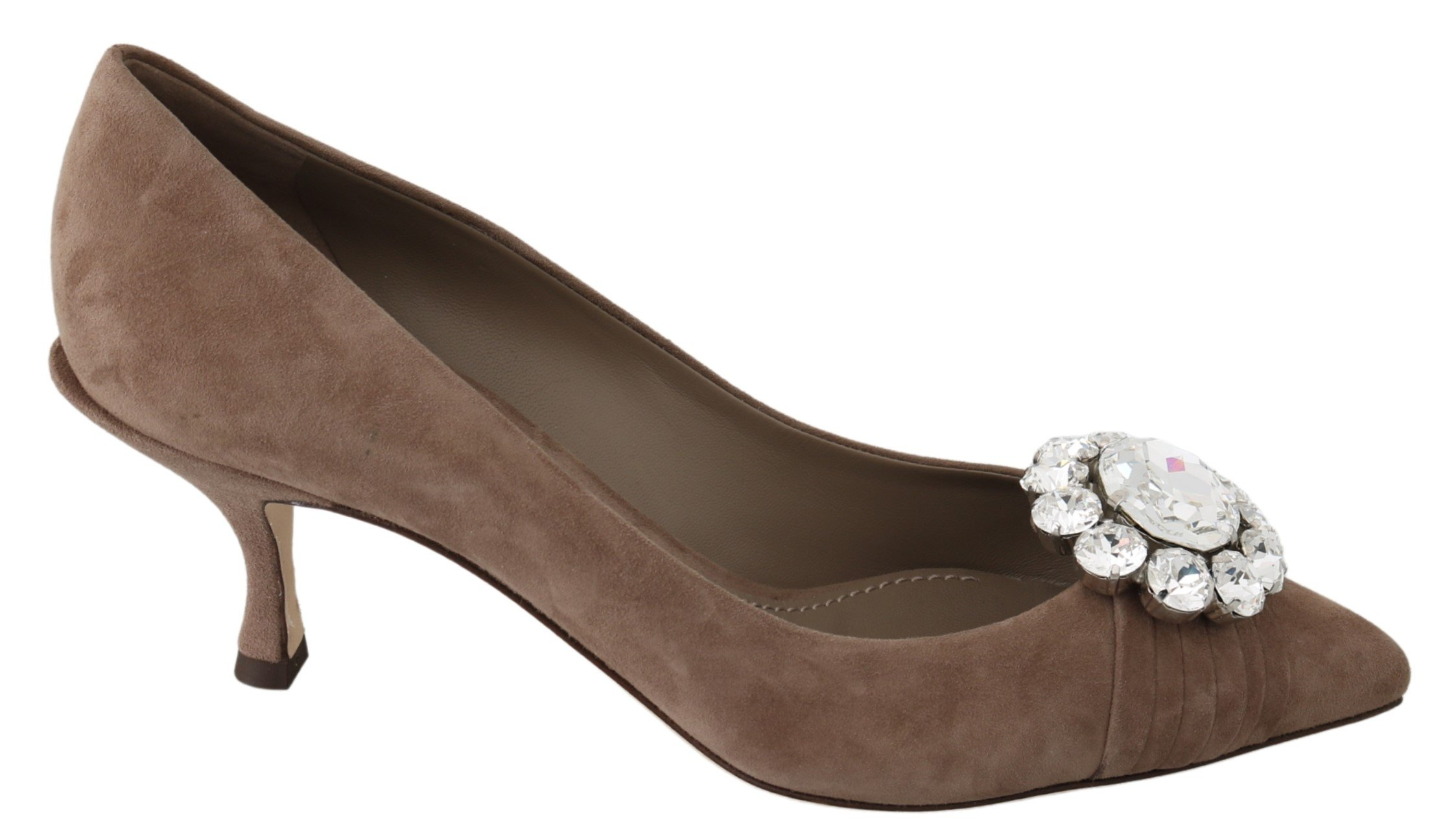 Dolce & Gabbana Women's Suede Crystals Pumps Brown LA7229 - EU39/US8.5
