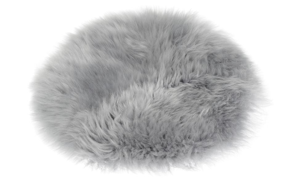 Langhåret rund sittepute i fåreskinn - lysegrå