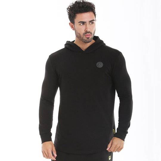 Golds Gym Long Sleeve Hooded Sweatshirt, Black
