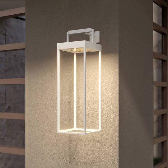 Lucande Lynzy LED-solcellelampe, hvit, 58,3 cm