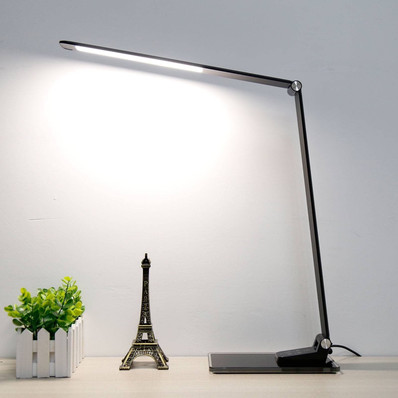 Starglass LED-skrivebordslampe med glass-sokkel