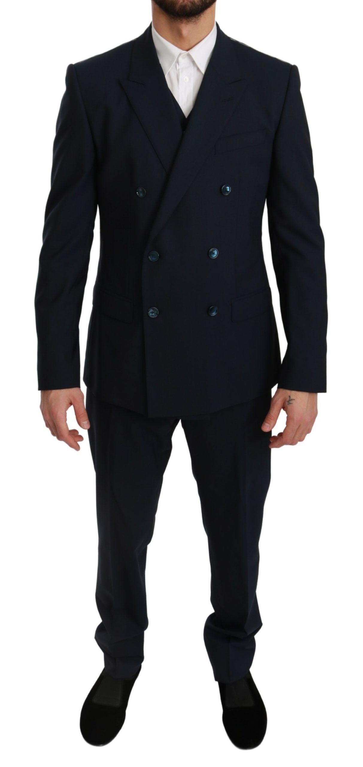 Dolce & Gabbana Men's Slim Fit 3 Piece MARTINI Wool Suit Blue KOS1765 - IT50 | L