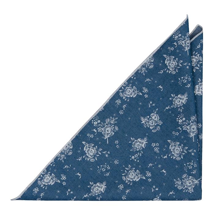 Bomull Lommetørkler, Myke, hvite roser på denimblått, Blå, Blomster