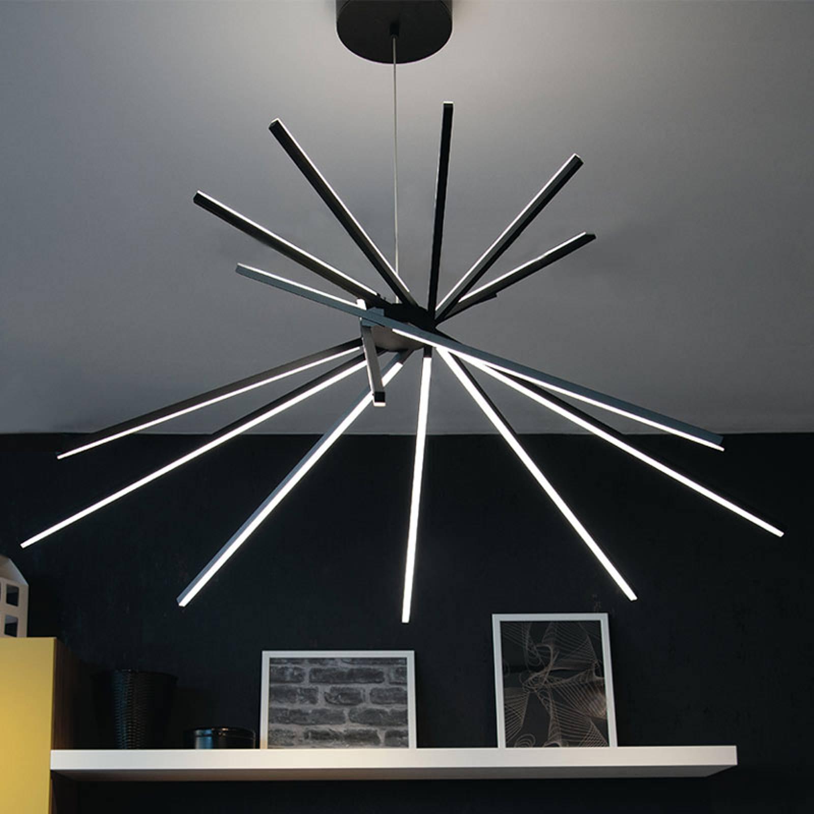 LED-riippuvalo Shanghai, 8-lamp. 4 000 K musta