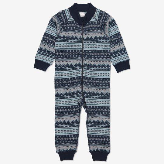 Dress ull jaquardmønstret baby mørkblå