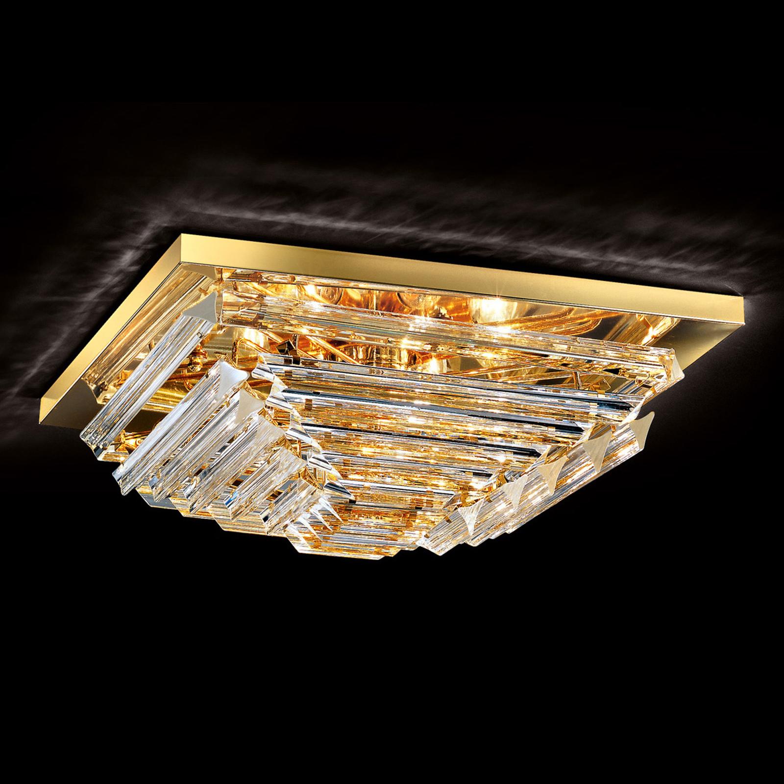 Kullattu kristallikattolamppu Losanghe, 55 cm