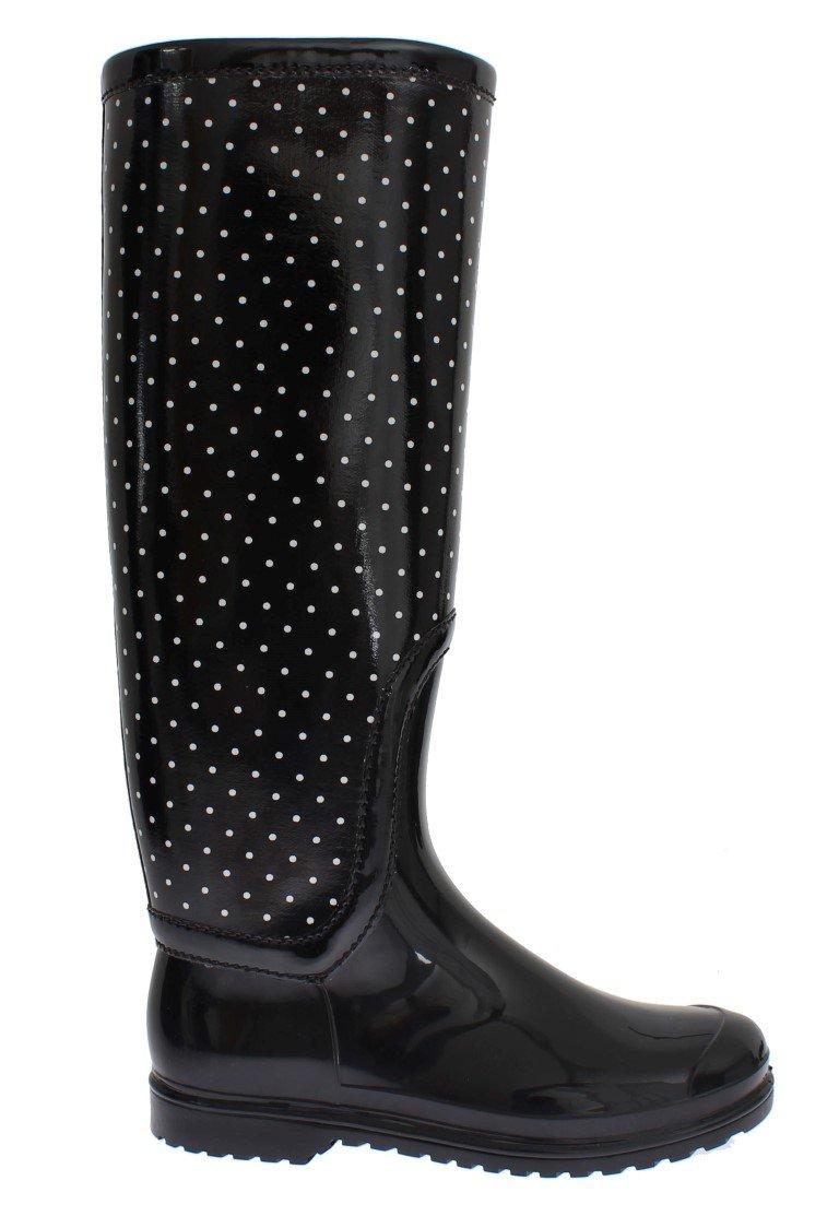 Dolce & Gabbana Women's Polka Rubber Rain Boots Black SIG17247 - EU38/US7.5