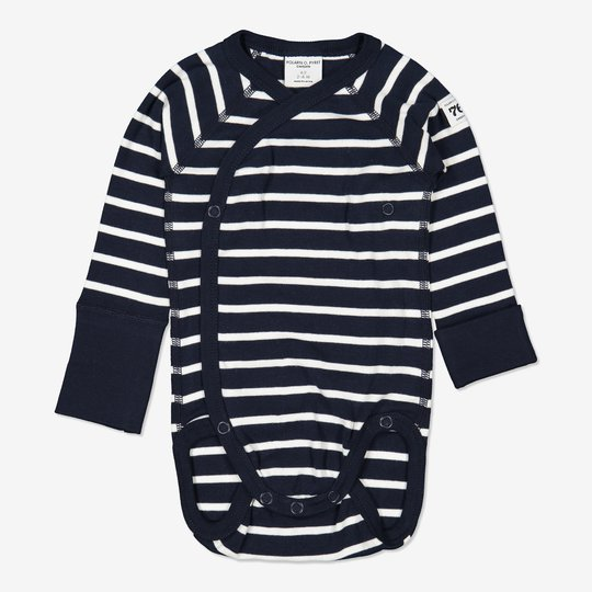 Omslagsbody stripet nyfødt mørkblå