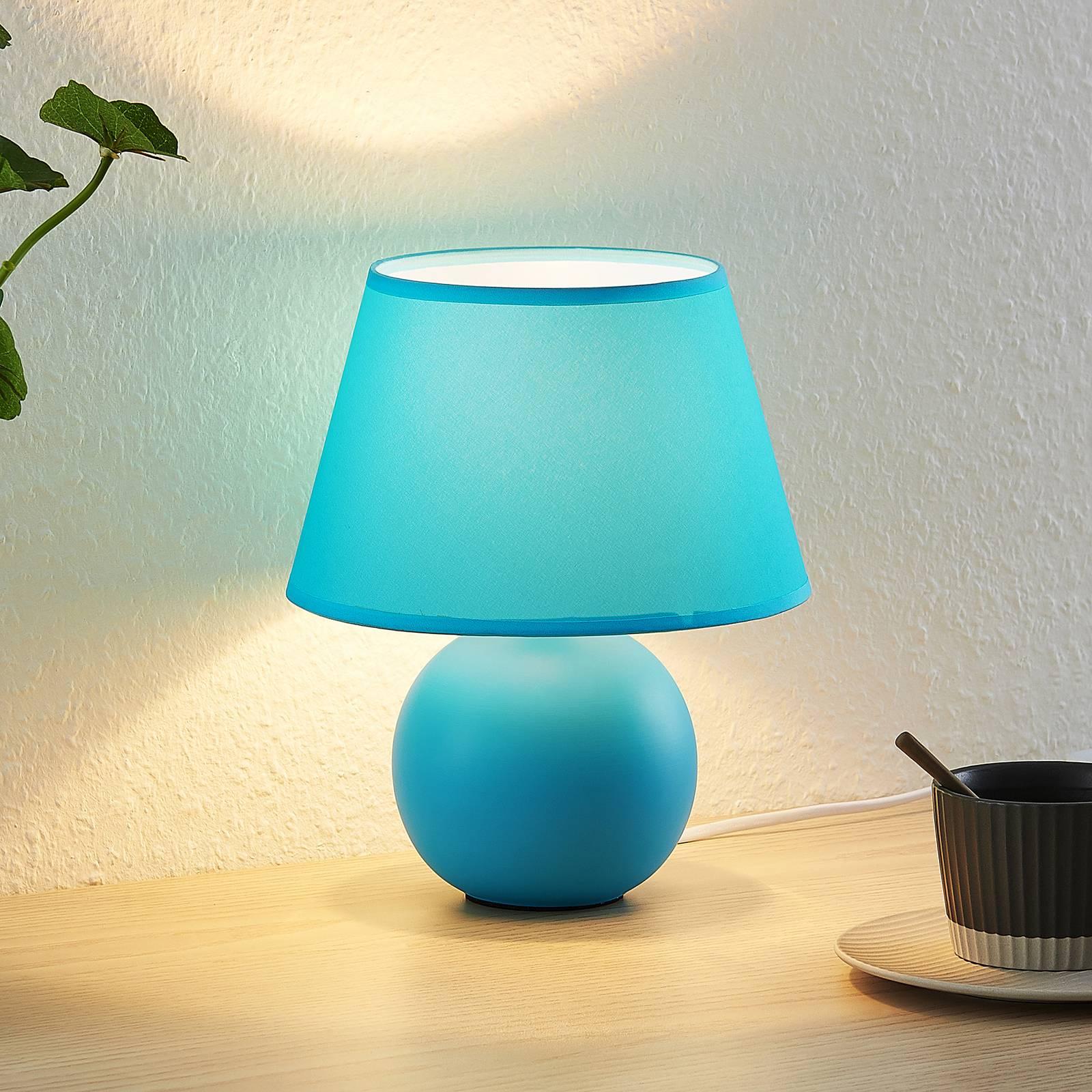 Lindby Calliota-pöytälamppu pyöreä, vaaleansininen