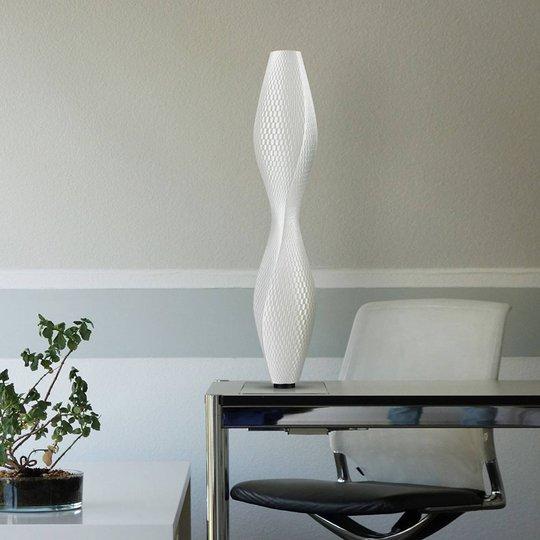 LED-gulvlampe Flechtwerk Lava, 75 cm, hvit