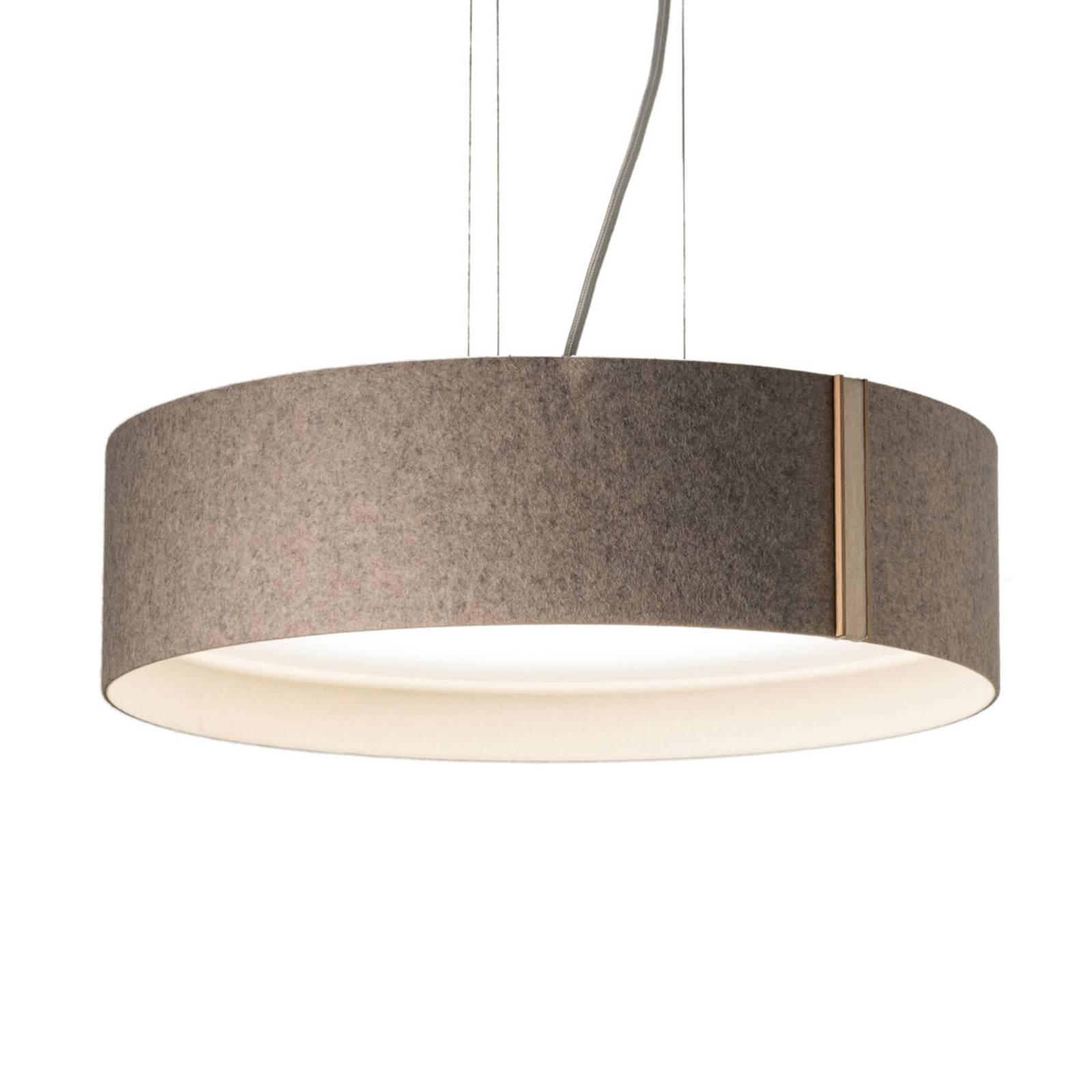 LED-riippuvalaisin LARAfelt M, Ø43cm, harmaa/villa