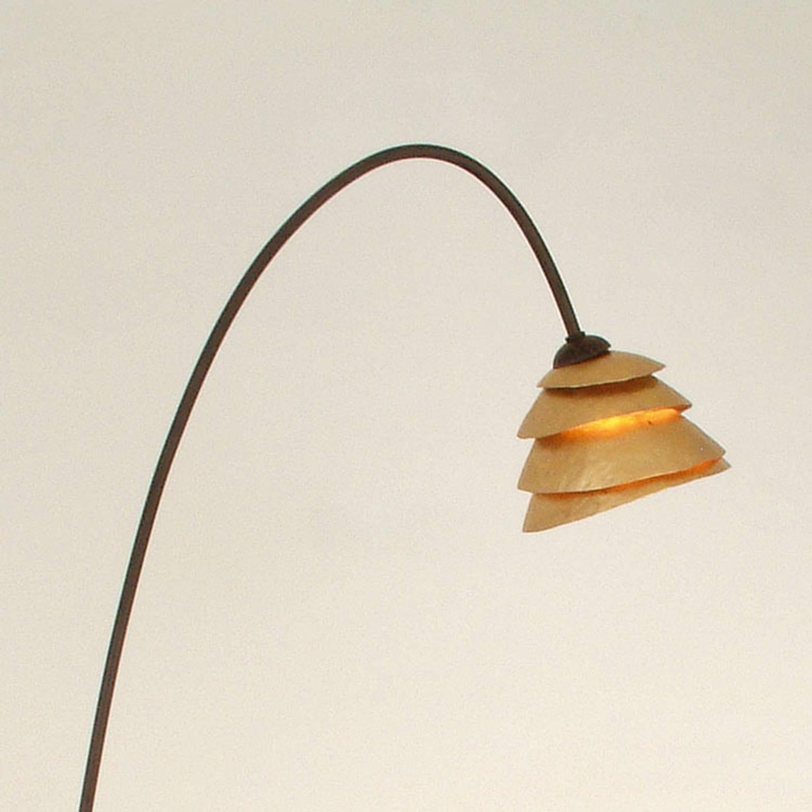 Grasiøs SNAIL stålampe med 1 lys, jern brun gull