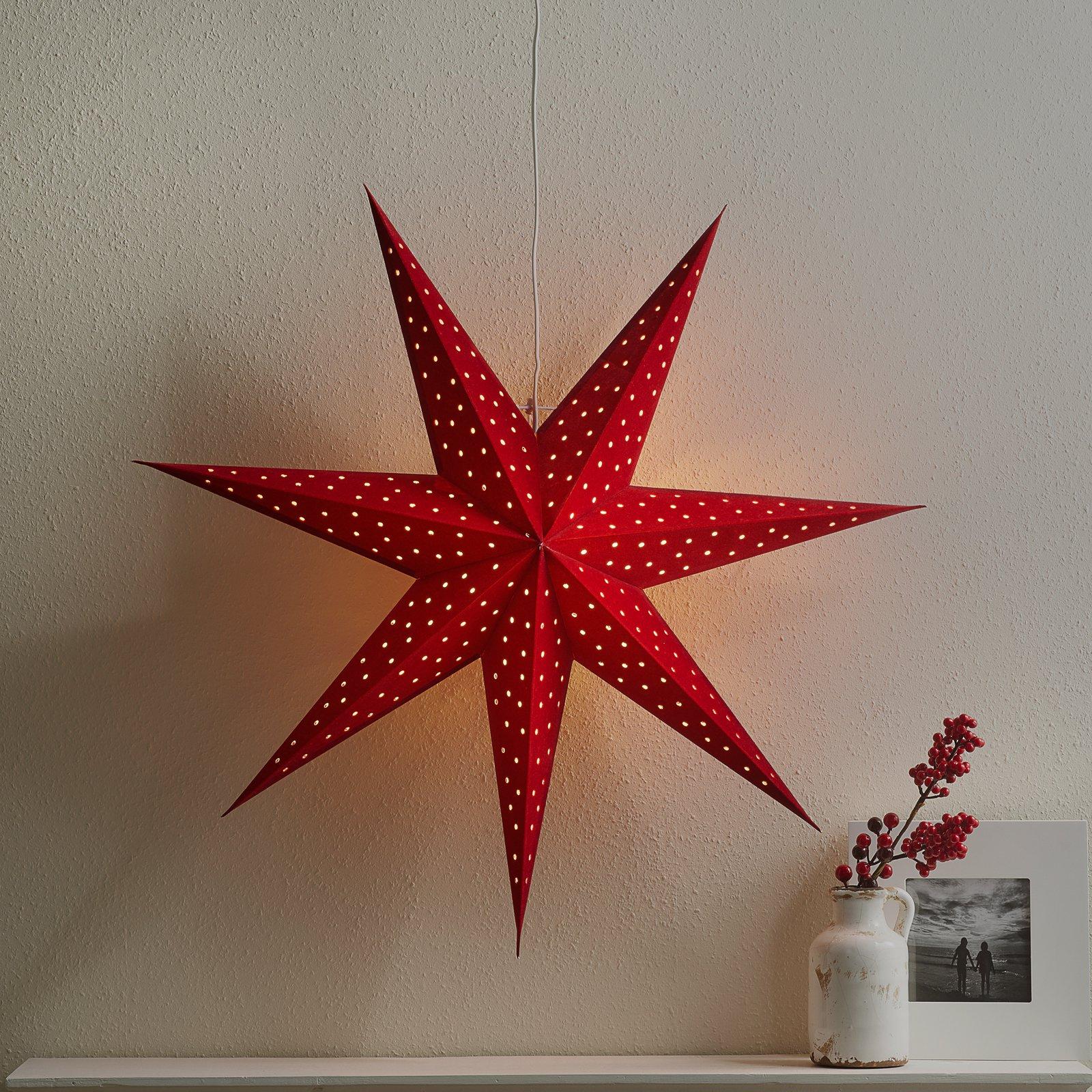 Stjerne Clara opph., fløyel-optikk Ø 75 cm, rød