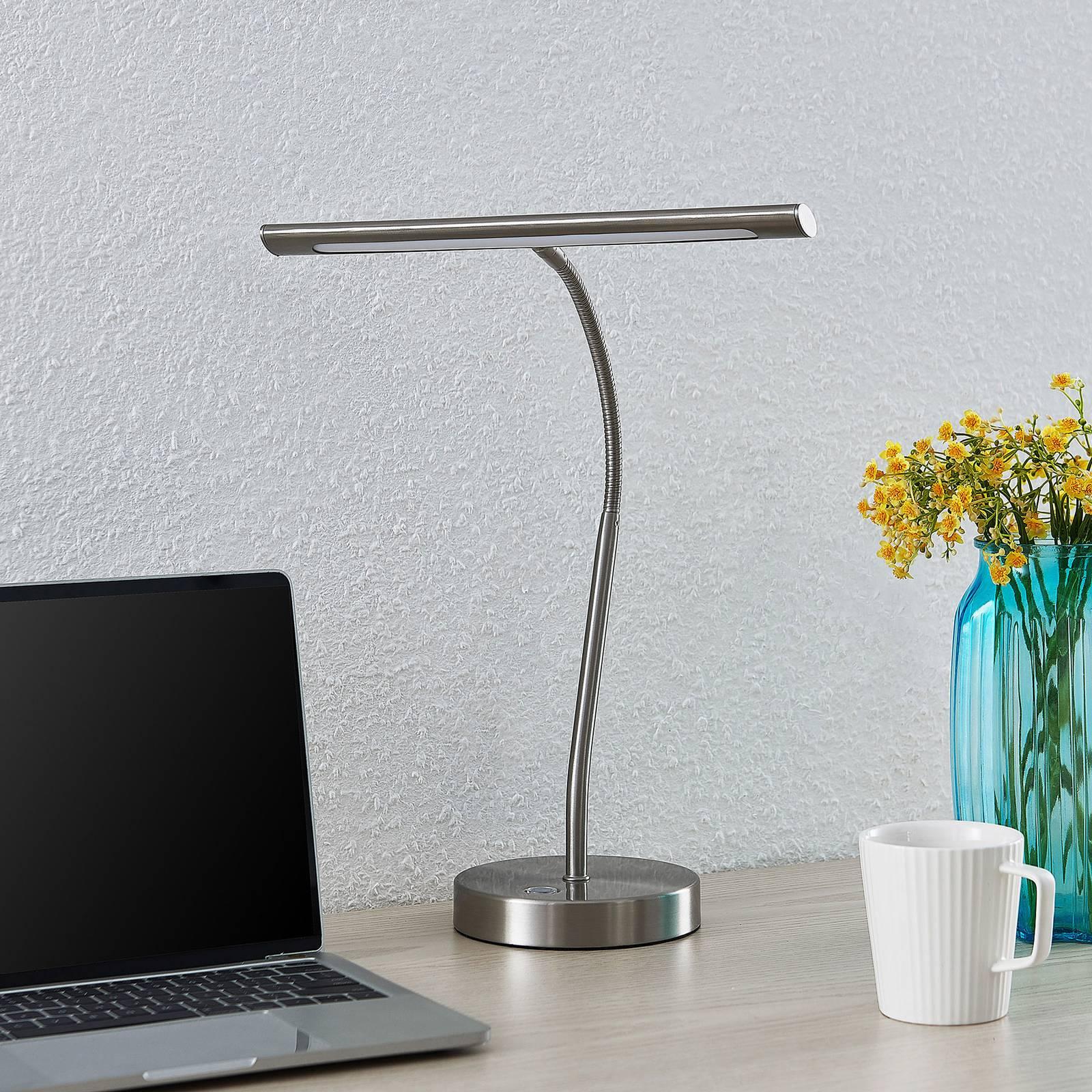 Lindby Nikali -LED-työpöytälamppu, nikkeliä