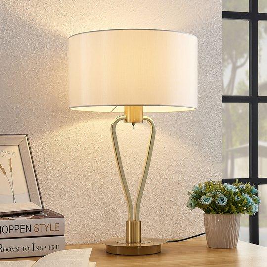 Lucande Gyda -kangaspöytälamppu, mattamessinki