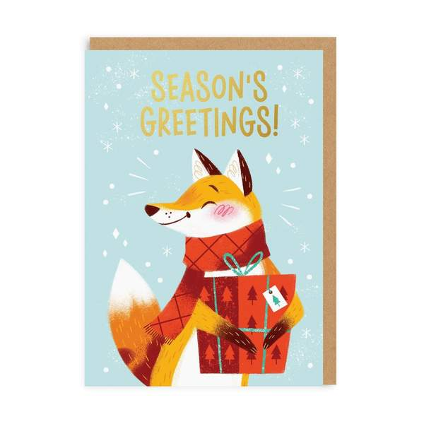 Season's Greetings Fox Christmas Card