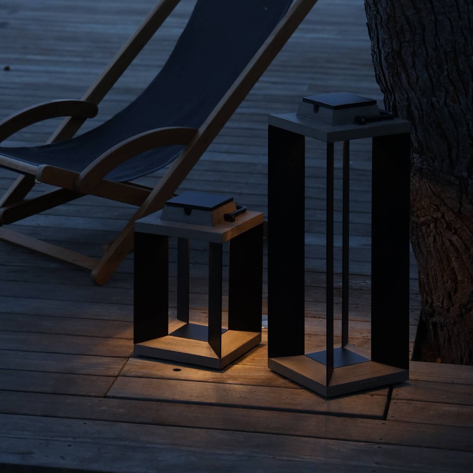Aurinkokäyttöinen lyhty Teckalu, musta, 36,5cm