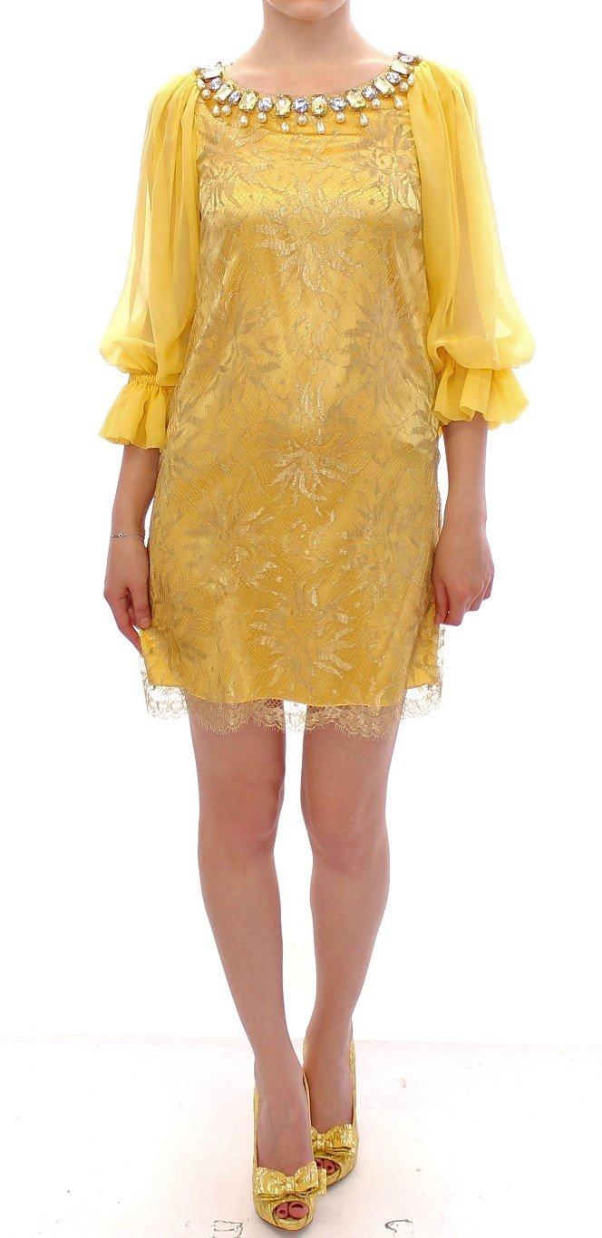 Dolce & Gabbana Women's Lace Crystal Mini Dress Yellow GSS10005 - IT38|XS