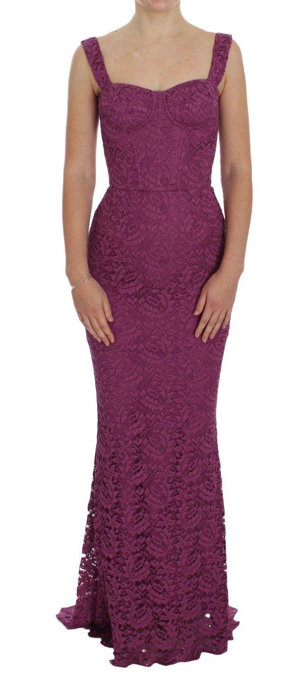 Dolce & Gabbana Women's Floral Ricamo Gown Dress Purple NOC10087 - IT46|XL